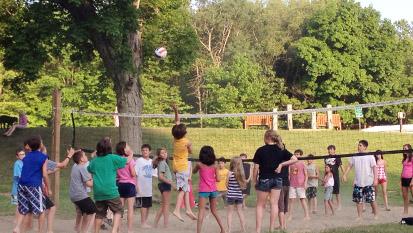 Lit Volleyball Court